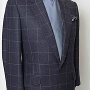 single breasted sports coat in windowpane cloth