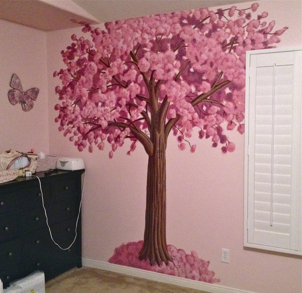 Cherry blossom tree growth chart mural yelp for Cherry tree mural
