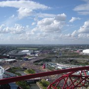 View of the crowds and the Olympic Park from The Orbit