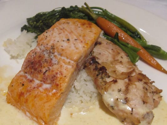 Duet plate of Grilled Salmon + Herb-crusted Chicken with ...