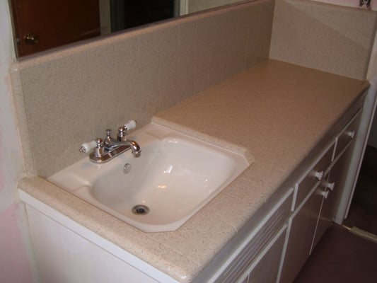 Bath Vanity Top Sink After Refinishing In Stonelike