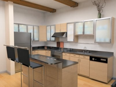 Kitchen cabinet frosted glass yelp for White kitchen cabinets with frosted glass