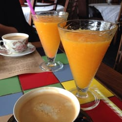Fresh orange juice and coffee.