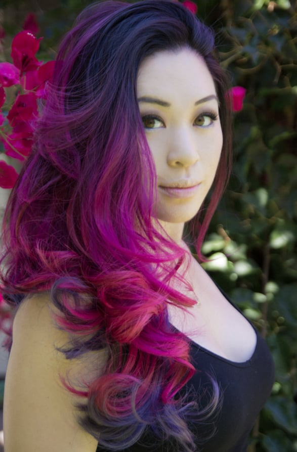 Magenta ombre on the top half and violet/lilac ombre on the bottom ...