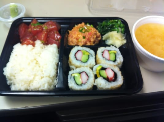 ahi lover 39 s bento 2 poke sushi spicy ahi and miso soup sorry for t. Black Bedroom Furniture Sets. Home Design Ideas