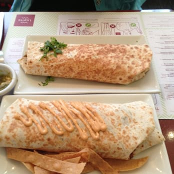Vegetarian burrito (top) and Carnitas burrito (bottom)