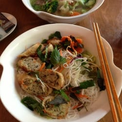 #15 vermicelli with spring rolls. Big portion and fresh ingredients.
