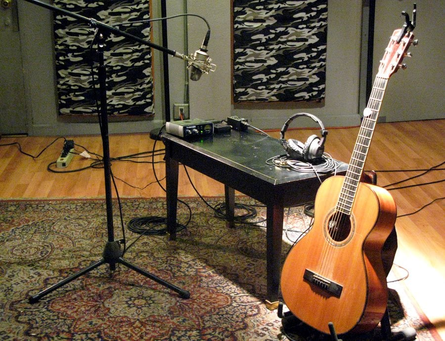 Recording Studio Tracking Room Set Up For Acoustic Guitar