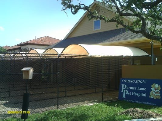 Steel framed canvas covers for dog runs ideal for daycare for Welborn garage doors austin