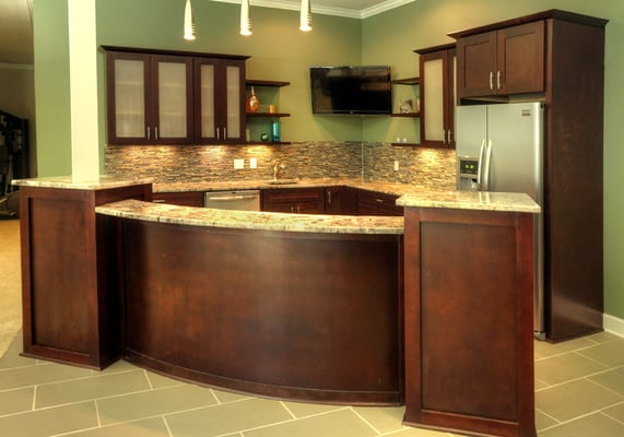 Shaker espresso kitchen cabinets with rounded island yelp for Welborn garage doors austin