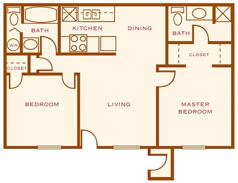 the roja 800 square feet a split floorplan two bedrooms two