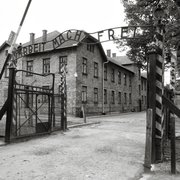 "Auschwitz I entrance - arbeit macht frei ""labor makes you free"""