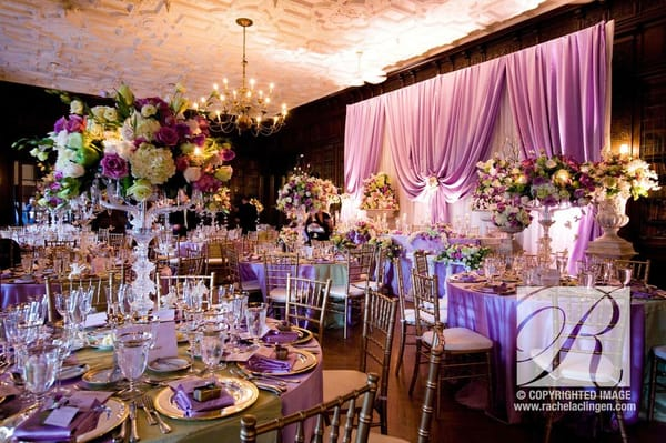lavender and soft green wedding flowers crystal candelabras at Casa Loma in