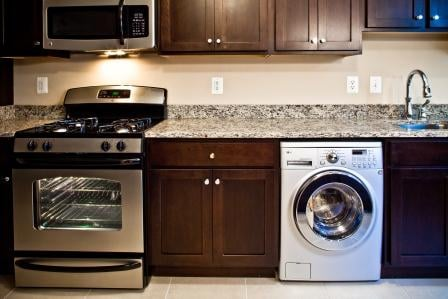 the shelburne kitchen featuring new appliances including