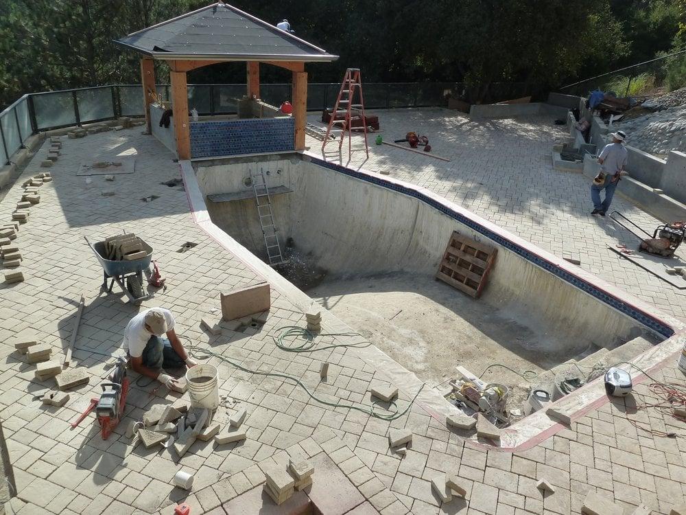 Laying Monarch Stone Pavers Around Pool Deck Cupertino Yelp