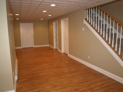 basement finishing with engineered flooring 2x2 recessed drop ceiling