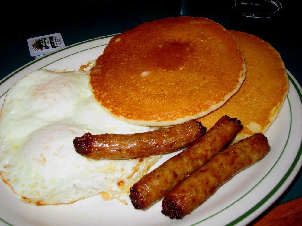Eggs sausage links and pancakes yelp