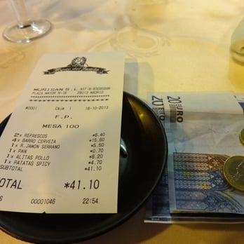 Our bill for Museo del Jamon with one extra beer - honestly it was just an okay meal for being 40 Euro :(