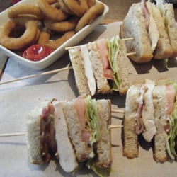 Chicken club and onion rings