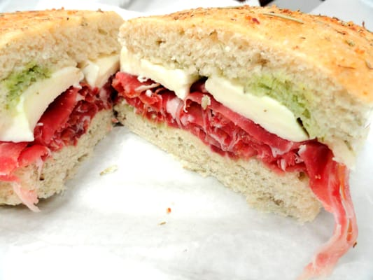 Proscuitto Sandwich (Prosciutto, Fresh Mozzarella, Pesto on Foccacio ...