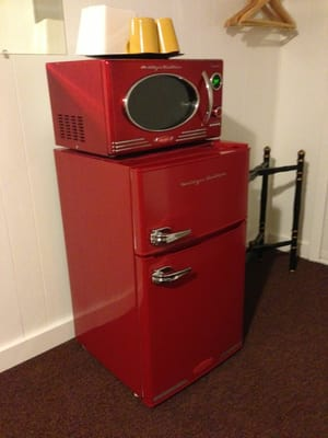 Retro fridge & freezer with a matching microwave on top. | Yelp
