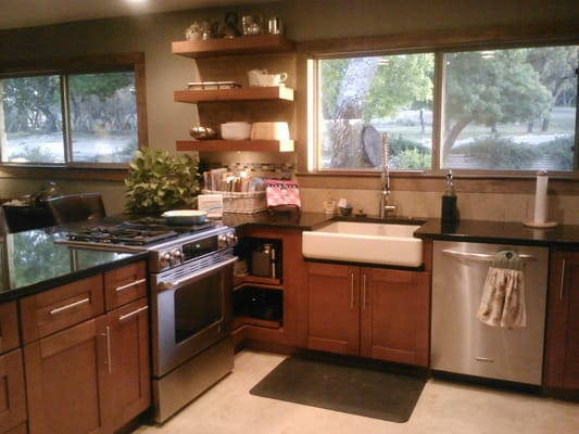Shaker cinnamon kitchen cabinets austin texas with farm sink yelp