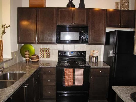 Black appliances granite countertops in all kitchens yelp for Black cabinets and black appliances
