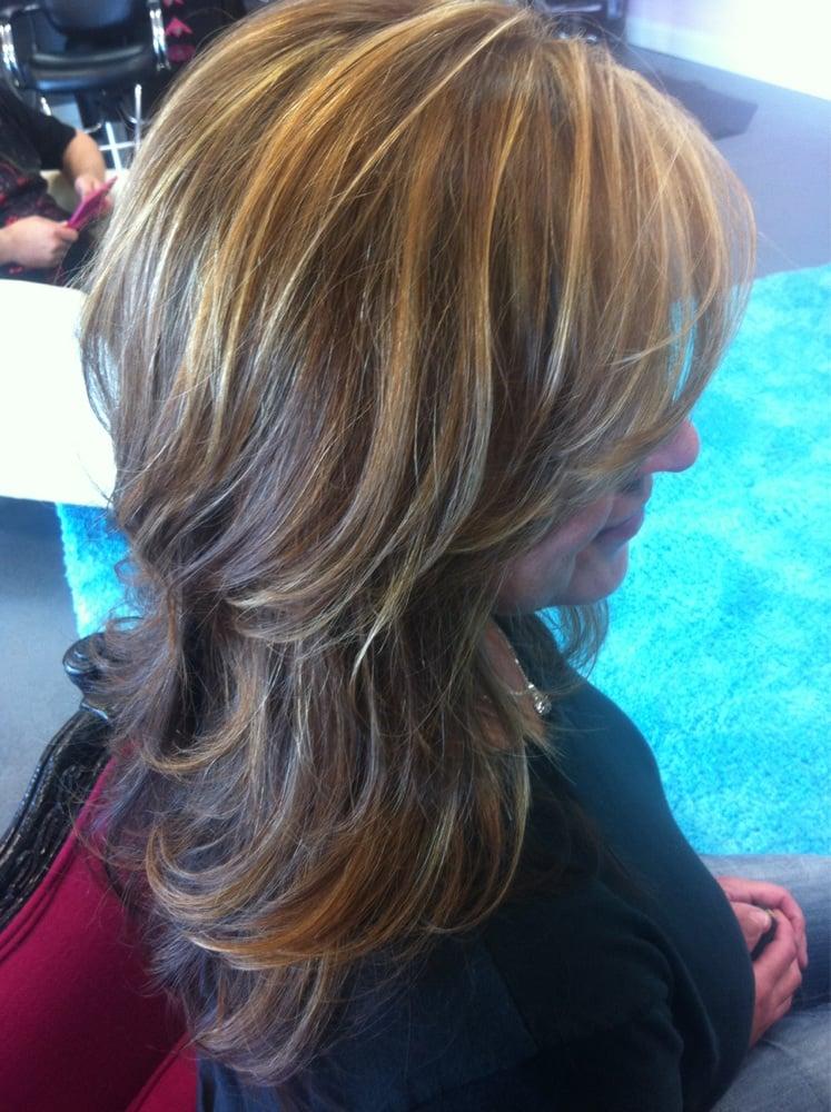 Auburn hair with golden blonde highlights | Yelp