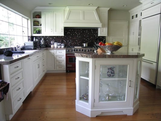 White Painted Kitchen Cabinets Flush Inset Cabinetry Custom Hood
