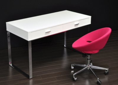 York White Lacquered Desk With Crescent Pink Wool Office
