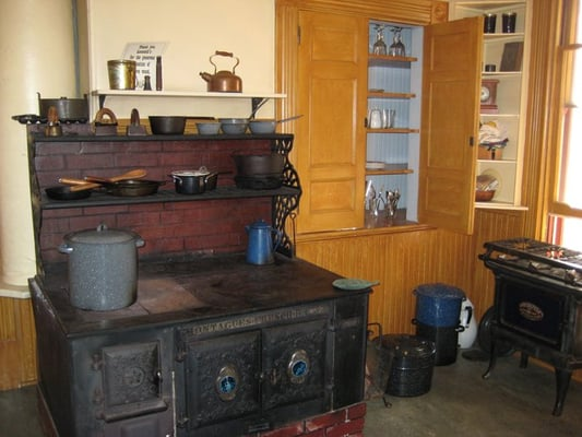 Historic kitchen with wood-burning stove | Yelp