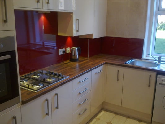 Kitchen Fit In High Gloss Cream With Burning Galaxy Splash Back Board Yelp