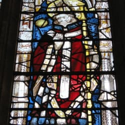 Detail: Figure of St Martin in the centre of the window.