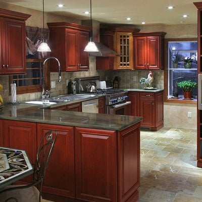 Cherry cabinets. Duo stain: Fireside & Bamboo. Granite countertops