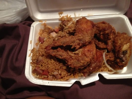 Chicken wings and pork fried rice.   Yelp
