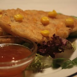 Corn fritters and mango chutney