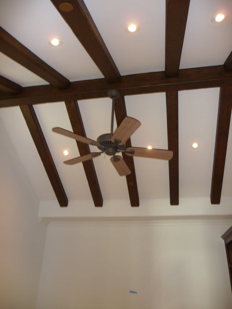 vaulted ceiling 45 degree recessed lights and fan : Yelp