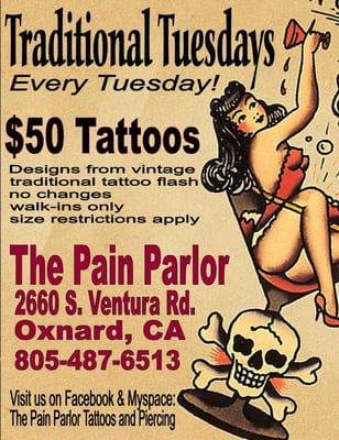 TRADITIONAL TUESDAYS every Tuesday at the Pain Parlor!