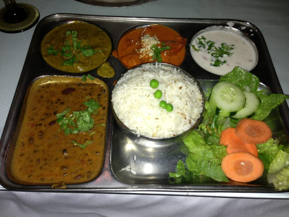 Non veg thali lamb curry butter chicken dal makhani for Angeethi indian cuisine leesburg