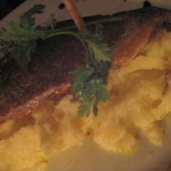 Seabass and garlic mashed potato