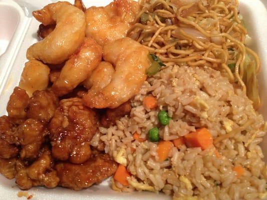 Orange chicken & honey walnut shrimp. Half fried rice half chow mein ...