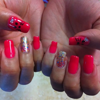 Nail Embellishment with clear shellac overlay, Hello Kitty Face | Yelp