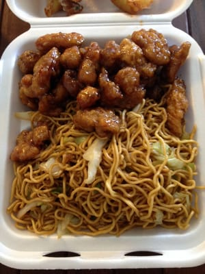 Double orange chicken and chow mein | Yelp