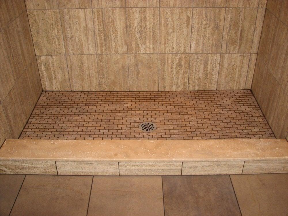Travertine tile stall shower with travertine shower floor for Floors floors floors nj