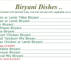 Farhana Indian Restaurant and Take Away - Menu - Biryani Dishes