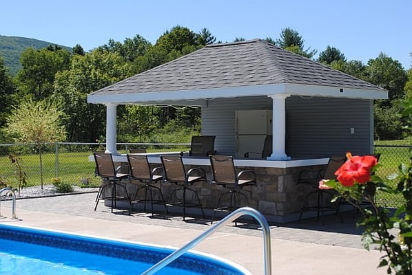 10 x 14 Hip with Bar Pool house. This poolhouse with bar counter is ...
