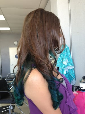 Brown Hair With Aqua Tips Aqua and teal tips