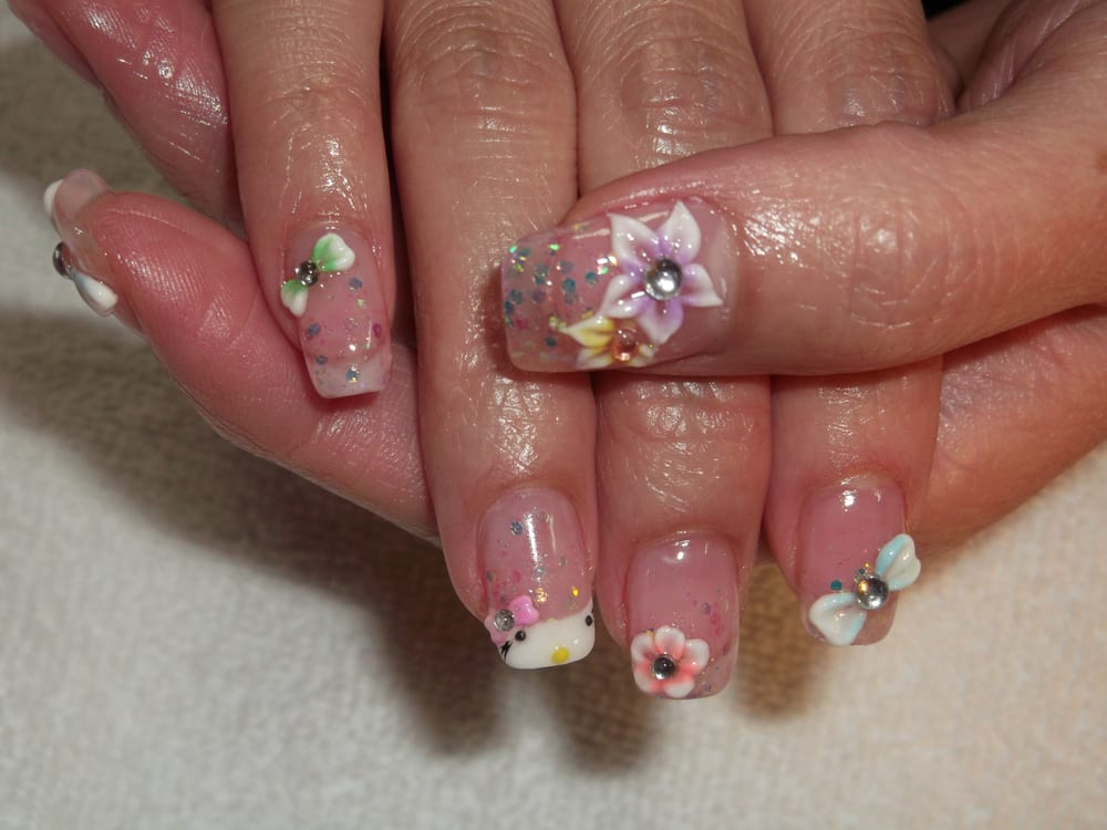 Glitter lynth gel with 3d nail design yelp for 3d nail art salon
