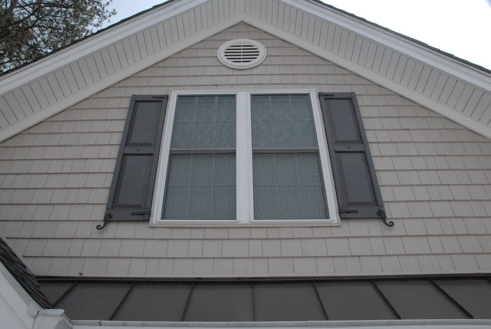 Energy Efficient Replacement Windows With Vinyl Cedar Shakes And Paneled Shutters Yelp