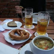 Lunch - fabulous soup, bread and beer